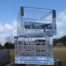 レーザー彫刻で冷え枡に加飾しました。
